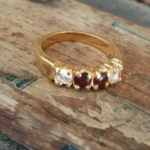 Jewelry - Garnet and Clear Stones Ring